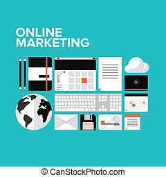 mercadotecnia, conjunto, en línea, plano, iconos