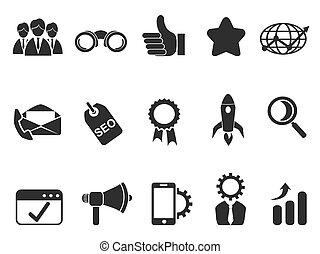 mercadotecnia, conjunto, iconos del internet