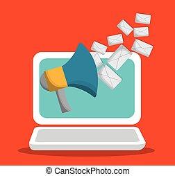 mercadotecnia, design., computador portatil, enviar, email, sobre