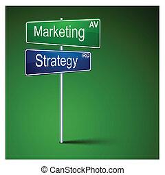 mercadotecnia, dirección, signo., camino, estrategia