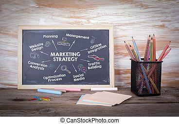 mercadotecnia, estrategia, concept., gráfico, con, keywords, y, icons., viejo, tabla de madera, con, textura