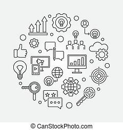 mercadotecnia, estrategia, vector, contorno, circular, ilustración