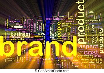 mercadotecnia, marca, concepto, encendido, plano de fondo