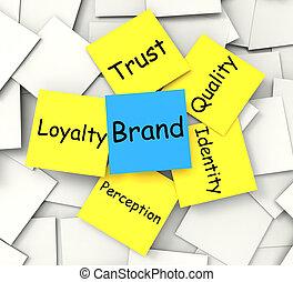 mercadotecnia, marca, marca registrada, nota, post-it, ...