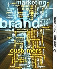 mercadotecnia, marca, wordcloud, encendido