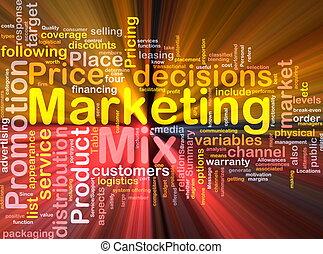 mercadotecnia, mezcla, plano de fondo, concepto, encendido