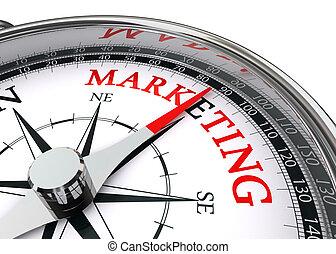 mercadotecnia, palabra, en, conceptual, compás