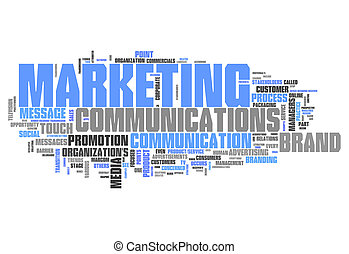 mercadotecnia, palabra, nube, comunicaciones
