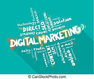 mercadotecnia, palabra, nube, digital