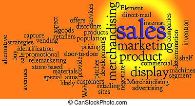 mercadotecnia, palabra, ventas, nube