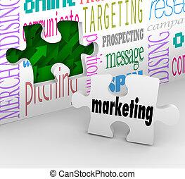 mercadotecnia, pared, pedazo del rompecabezas, mercado, plan, estrategia