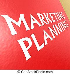 mercadotecnia, planificación, con, fondo rojo