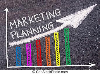 mercadotecnia, planificación, escrito, encima, colorido, gráfico, y, levantamiento, flecha