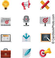 mercadotecnia, vector, conjunto, icono