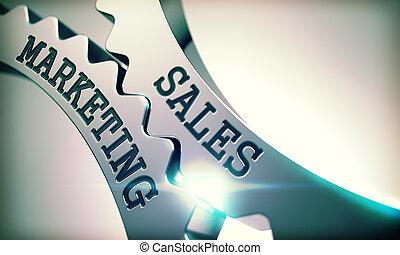 mercadotecnia, -, ventas, mecanismo, metálico, gears., mensaje, 3d