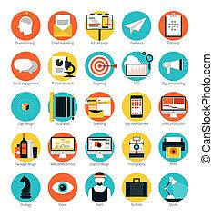 mercadotecnia, y, diseño, servicios, plano, iconos, conjunto