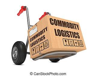 mercancía, logística, -, caja de cartón, en, mano, truck.