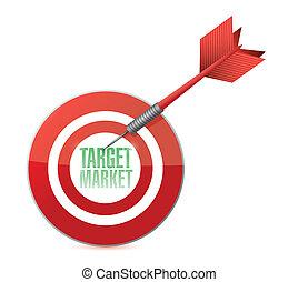 mercato, concetto, disegno, bersaglio, illustrazione