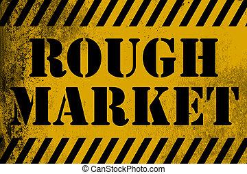 mercato, ruvido, zebrato, segno giallo