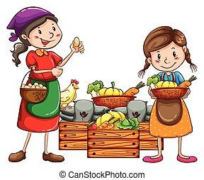 mercato, venditori, vendita, il, fresco, raccolti
