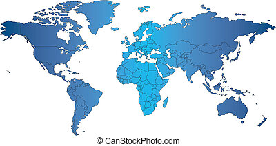 mercator, mundo, países, mapa