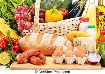 mercearia, carne, sortido, produtos, legumes, incluindo,...