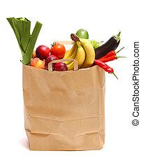 mercearia, cheio, saudável, legumes, saco, frutas
