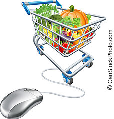mercearia, conceito, fazendo compras online