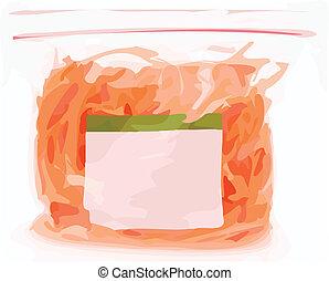 mercearia, cor, ilustração, saco, vetorial, alimento, selado
