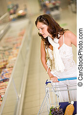 mercearia, -, mulher jovem, shopping