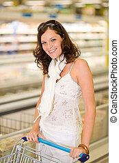 mercearia, -, mulher sorridente, shopping