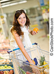 mercearia, -, mulher sorridente, shopping, escolher, fruta