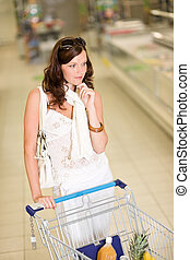 mercearia, -, pensativo, shopping mulher