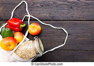 mercearia, plastic-free, bags., fresco, pacote, eco, legumes, package-free, escuro, alimento, zero, shopping., frutas, tabela, desperdício, texture., madeira, algodão