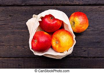 mercearia, shopping., bags., pacote, madeira, package-free, escuro, eco, zero, plastic-free, maçãs, frutas, fresco, desperdício, tabela, texture., algodão