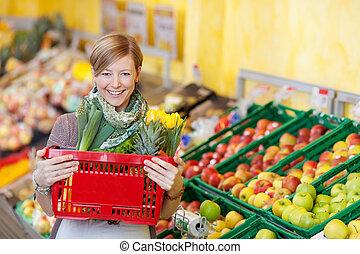 mercearia, shopping mulher, cesta levando, loja