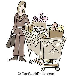 mercearia, shopping mulher