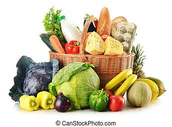 mercearia, variedade, vime, isolado, produtos, cesta, branca