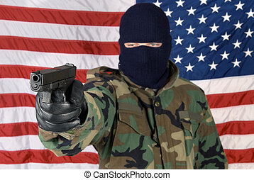 Mercenary protection - A man prepares to defend his country...