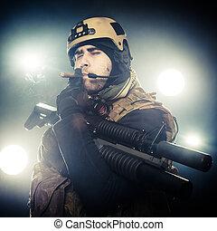 Mercenary. Selected focus on eyes
