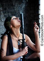 mercenary - Mercenary with M4 submachine gun and big cigar...