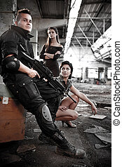 Mercenary - Armed mercenariy with machineguns and 2 pretty...