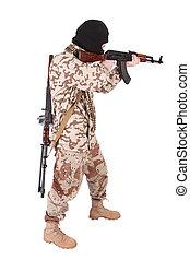 mercenary with kalashnikov rifle