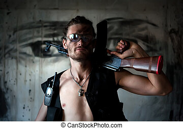 Mercenary with 'Kalashnikov' submachine gun on the painted ...