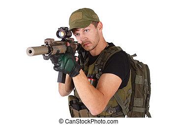 mercenary with m4 rifle isolated on white