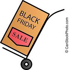 Merchandise, black friday, stroller color gradient vector icon
