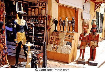 Aswan Market - Merchandise in Aswan Market, Egypt.