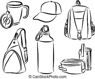 merchandising branding products illustration