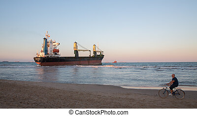Merchant Ship - VALENCIA - OCTOBER 1: People observing BSLE...