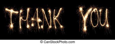 merci, écrit, sparkler